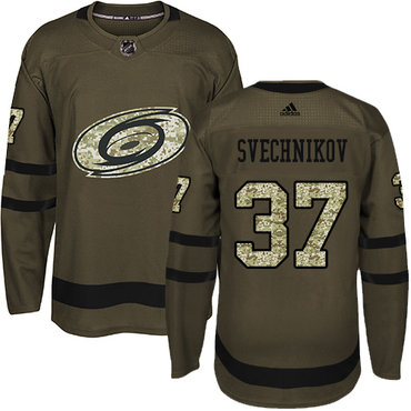 Adidas Carolina Hurricanes #37 Andrei Svechnikov Green Salute to Service Stitched NHL Jersey