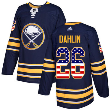 Adidas Buffalo Sabres #26 Rasmus Dahlin Navy Blue Home Authentic USA Flag Stitched NHL Jersey