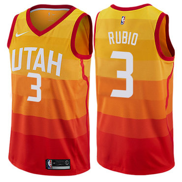 Nike Utah Jazz #3 Ricky Rubio Orange NBA Swingman City Edition Jersey