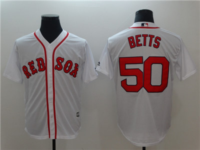 Red Sox #50 Mookie Betts White Cool Base Jersey