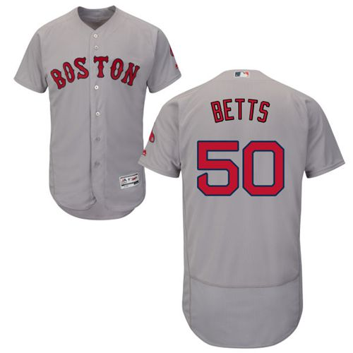 Red Sox #50 Mookie Betts Grey Flexbase Authentic Collection Stitched MLB Jersey