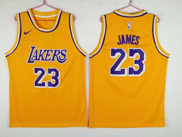 Men's Los Angeles Lakers 23 Lebron James Yellow Nike Swingman Jersey
