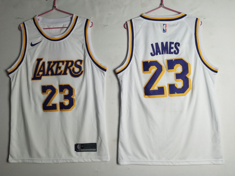 Men's Los Angeles Lakers 23 Lebron James White Nike Swingman Jersey
