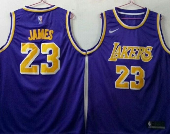Men's Los Angeles Lakers 23 Lebron James Purple Nike Swingman Jersey