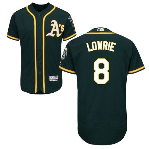 Men's Oakland Athletics #8 Jed Lowrie Green Flexbase Authentic Collection Stitched Baseball Jersey