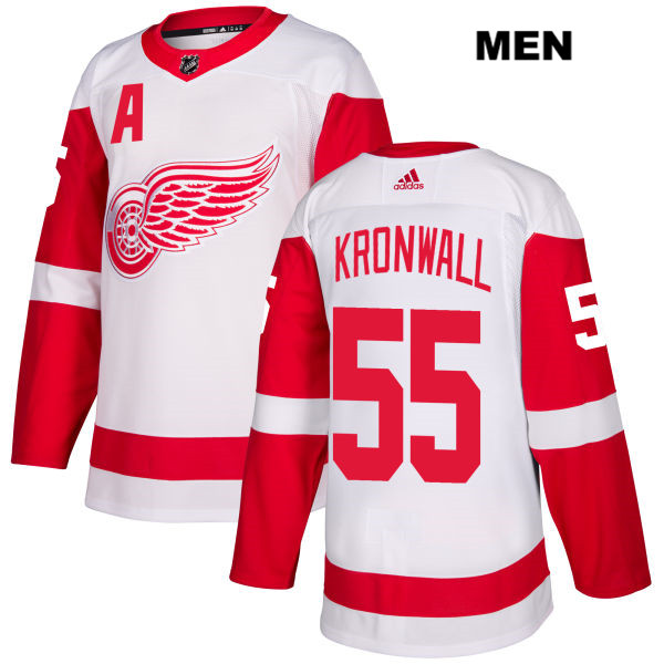 Mens Adidas Detroit Red Wings #55 Niklas Kronwall White Away Authentic NHL Jersey