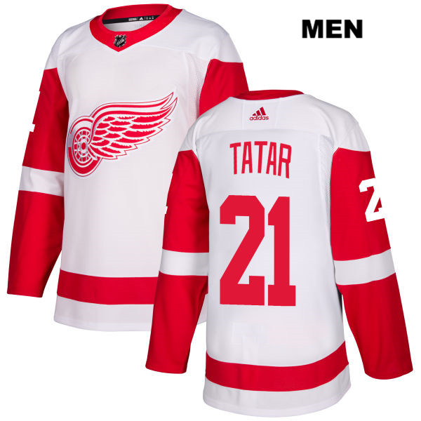Mens Adidas Detroit Red Wings #21 Tomas Tatar White Away Authentic NHL Jersey