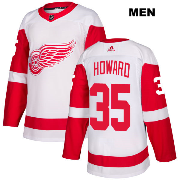 Mens Adidas Detroit Red Wings #35 Jimmy Howard White Away Authentic NHL Jersey