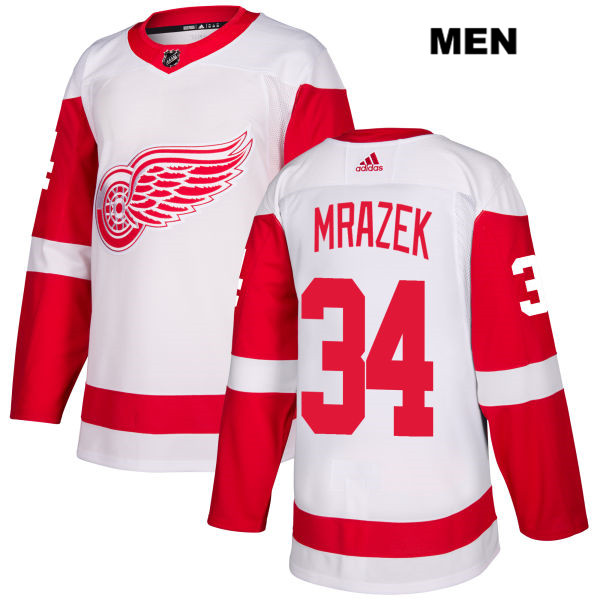 Mens Adidas Detroit Red Wings #34 Petr Mrazek White Away Authentic NHL Jersey