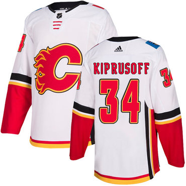 Men's Adidas Calgary Flames #34 Miikka Kiprusoff White Away Authentic NHL Jersey