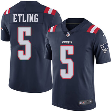 Men's Nike New England Patriots #5 Danny Etling Navy Blue Vapor Untouchable Limited Jersey