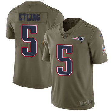 Men's Nike New England Patriots #5 Danny Etling Olive 2017 Salute to Service Limited Jersey