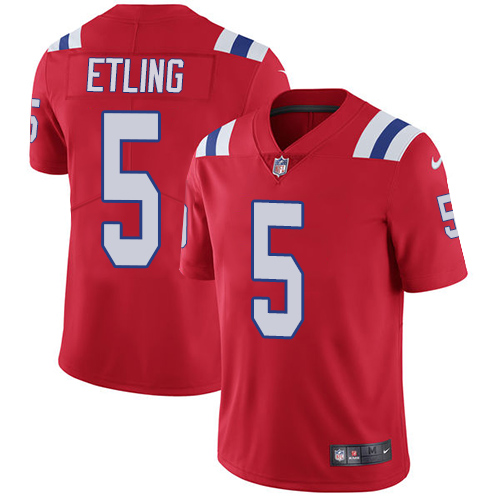 Men's Nike New England Patriots #5 Danny Etling Red Alternate Vapor Untouchable Limited Jersey