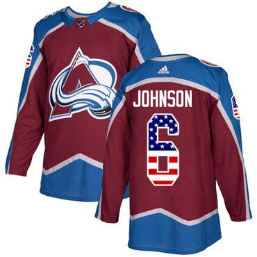 Adidas Colorado Avalanche #6 Erik Johnson Burgundy Red USA Flag Fashion NHL Jersey