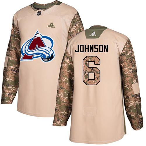Adidas Colorado Avalanche #6 Erik Johnson Camo NHL Veterans Day Practice Jersey