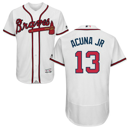 Atlanta Braves 13 Ronald Acuna Jr. White Flexbase Authentic Collection Stitched Baseball Jersey