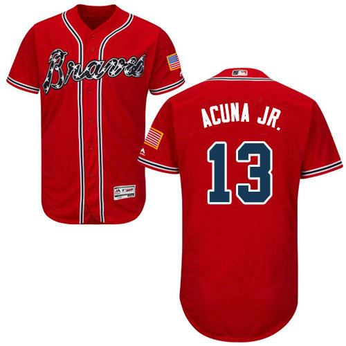 Atlanta Braves 13 Ronald Acuna Jr. Red Flexbase Authentic Collection Stitched Baseball Jersey