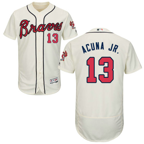 Atlanta Braves 13 Ronald Acuna Jr. Cream Flexbase Authentic Collection Stitched Baseball Jersey