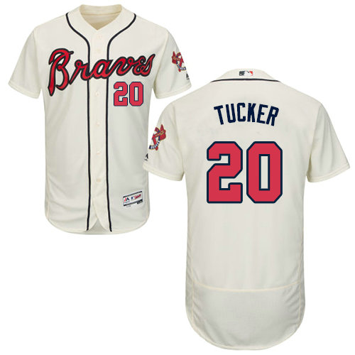 Atlanta Braves 20 Preston Tucker Cream Flexbase Authentic Collection Stitched Baseball Jersey