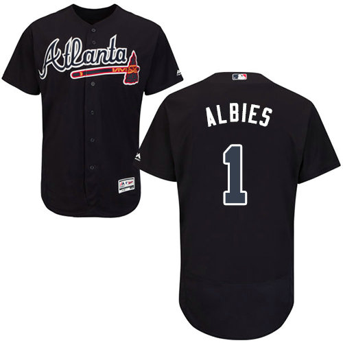 Atlanta Braves 1 Ozzie Albies Navy Blue Flexbase Authentic Collection Stitched Baseball Jersey