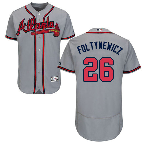 Atlanta Braves 26 Mike Foltynewicz Grey Flexbase Authentic Collection Stitched Baseball Jersey