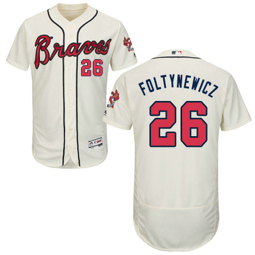 Atlanta Braves 26 Mike Foltynewicz Cream Flexbase Authentic Collection Stitched Baseball Jersey