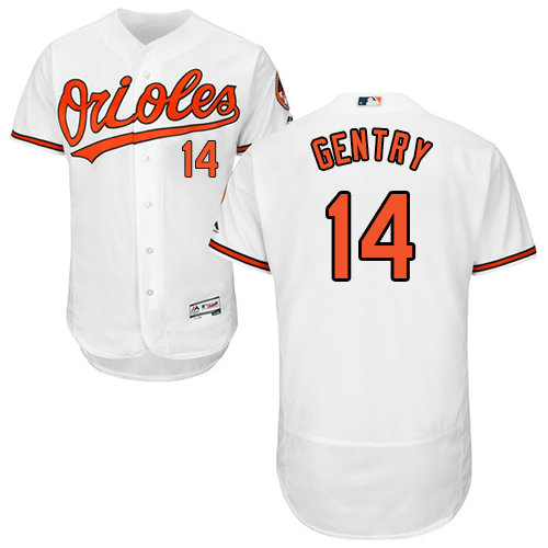 Baltimore Orioles 14 Craig Gentry White Flexbase Authentic Collection Stitched Baseball Jersey