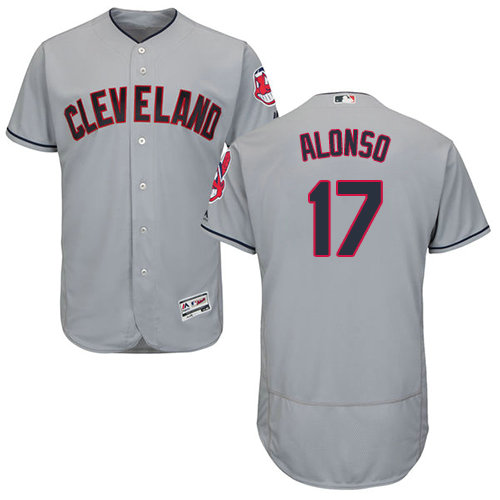 Cleveland Indians 17 Yonder Alonso Grey Flexbase Authentic Collection Stitched Baseball Jersey