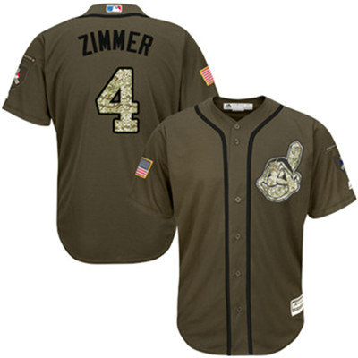 Cleveland Indians 4 Bradley Zimmer Green Salute to Service Stitched Baseball Jersey