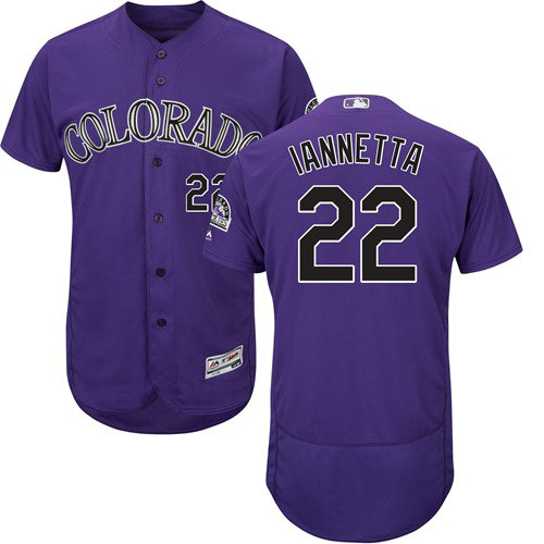 Colorado Rockies 22 Chris Iannetta Purple Flexbase Authentic Collection Stitched Baseball Jersey