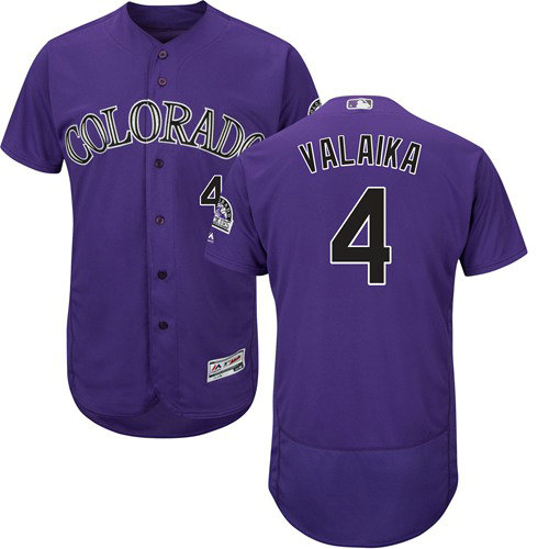 Colorado Rockies 4 Pat Valaika Purple Flexbase Authentic Collection Stitched Baseball Jersey