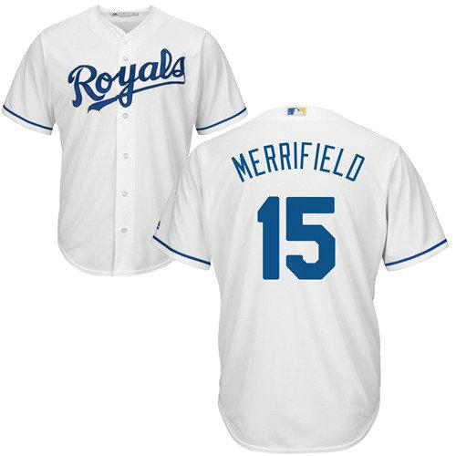 Kansas City Royals 15 Whit Merrifield White New Cool Base Stitched Baseball Jersey