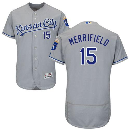 Kansas City Royals 15 Whit Merrifield Grey Flexbase Authentic Collection Stitched Baseball Jersey