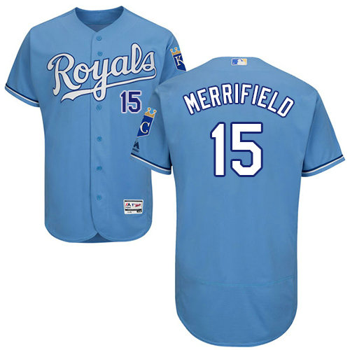 Kansas City Royals 15 Whit Merrifield Light Blue Flexbase Authentic Collection Stitched Baseball Jersey