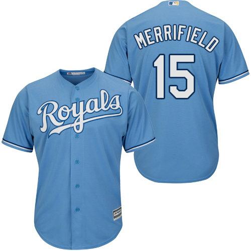 Kansas City Royals 15 Whit Merrifield Light Blue New Cool Base Alternate 1 Stitched Baseball Jersey