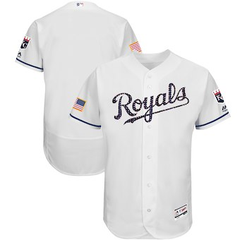 Kansas City Royals Majestic Blank White 2018 Stars and Stripes Authentic Collection Flex Base Team Jersey