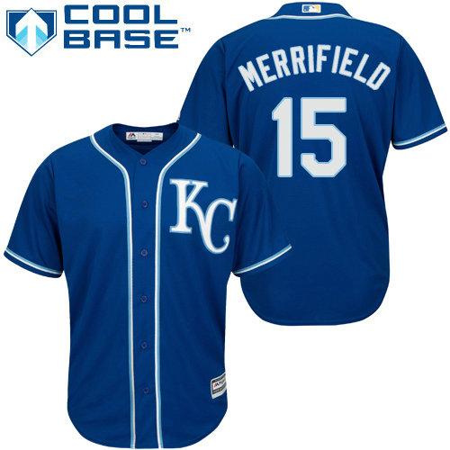 Kansas City Royals 15 Whit Merrifield Royal Blue New Cool Base Alternate 2 Stitched Baseball Jersey