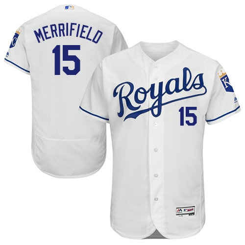 Kansas City Royals 15 Whit Merrifield White Flexbase Authentic Collection Stitched Baseball Jersey