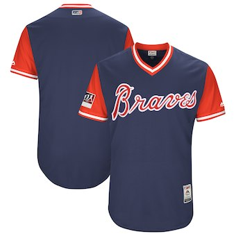 Men's Atlanta Braves Blank Majestic Navy 2018 Players' Weekend Authentic Team Jersey
