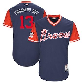 Men's Atlanta Braves 13 Ronald Acuna Jr. Sabanero Soy Majestic Navy 2018 Players' Weekend Authentic Jersey