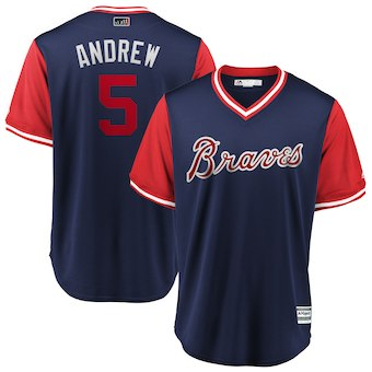 Men's Atlanta Braves 5 Freddie Freeman Andrew Navy 2018 Players' Weekend Cool Base Jersey