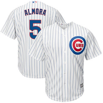 Men's Chicago Cubs 5 Albert Almora Majestic Home White Cool Base Replica Player Jersey