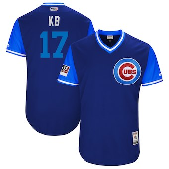 Men's Chicago Cubs 17 Kris Bryant KB Majestic Royal 2018 Players' Weekend Authentic Jersey