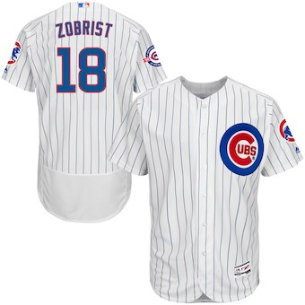 Men's Chicago Cubs 18 Ben Zobrist Majestic Home White Flex Base Authentic Collection Player Jersey