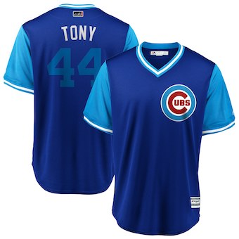 Men's Chicago Cubs 44 Anthony Rizzo Tony Majestic Royal 2018 Players' Weekend Cool Base Jersey