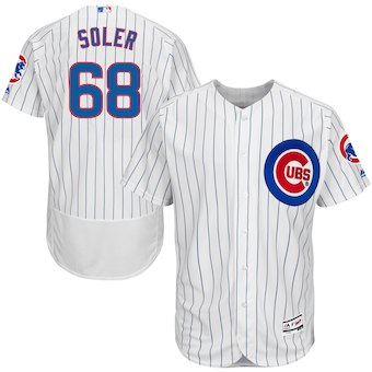 Men's Chicago Cubs 68 Jorge Soler Majestic Home White Flex Base Authentic Collection Player Jersey