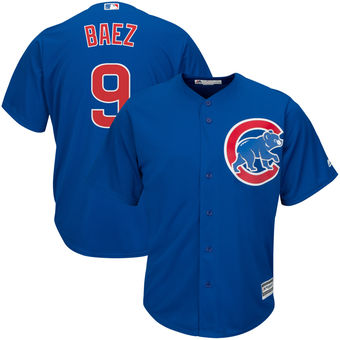Men's Chicago Cubs 9 Javier Baez Majestic Alternate Royal Official Cool Base Player Jersey