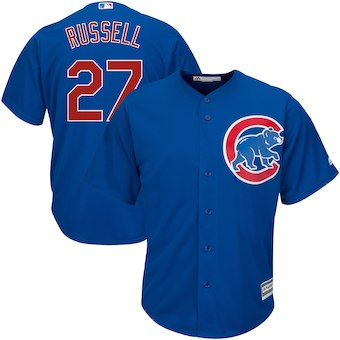 Men's Chicago Cubs 27 Addison Russell Majestic Royal Alternate Cool Base Player Jersey