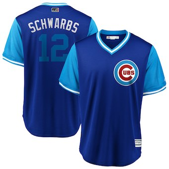 Men's Chicago Cubs 12 Kyle Schwarber Schwarbs Majestic Royal 2018 Players' Weekend Cool Base Jersey