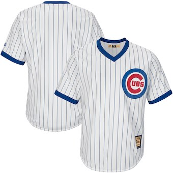 Men's Chicago Cubs Majestic Blank White Big & Tall Cooperstown Collection Cool Base Replica Team Jersey